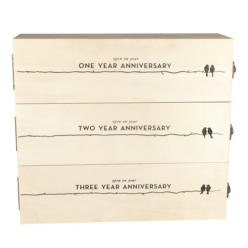 Boulevard Newlywed's Anniversary Wooden Wine Box by Twine – 3 Bottle Gift (Anniversary Wine)