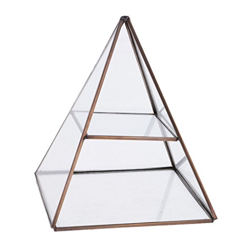 Antique Brass Tone Accents (Jili Online 2 Tiers Glass Pyramid Jewelry Stand Display Case with Vintage Style Brass Tone Metal Frame - Antique Bronze)