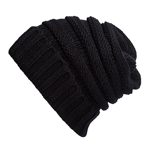 [WINCAN Stretch Cable Slouchy Beanie Hat Trendy Warm Chunky Soft Knit Cap (black)] (90s Era Costumes)