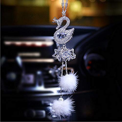 SZWGMY Car Auto Rearview Mirror Pendant Crystal Swans Hanging Ornament Car Interior Decoration Car Accessories Home Decor /… White