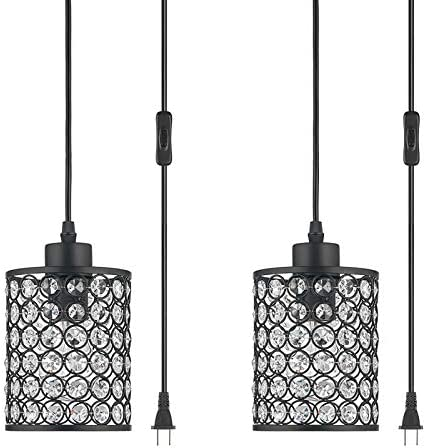 2 Lights Modern Oil Black Crystal Ceiling Pendant Lighting,Plug