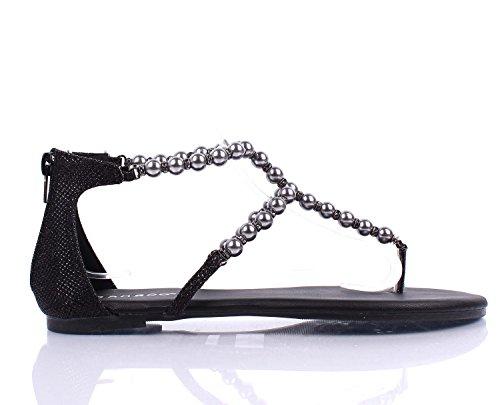 Noir Couleur Mode Fausses Perles Dos Zip T-sangle Style Gladiateur Sandales Pour Femmes Chaussures Occasionnels Nouveau Sans Boîte Noir