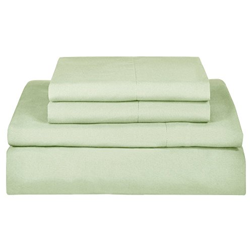 (First At Home Venezia Ultra Soft 100% Microfiber Solid Color Sheet Set, Twin, Sage)