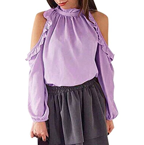 Printemps Blouses Longues Automne paule Unie Sexy Clair et Chemisiers Dnude Shirts New Couleur Tops Femmes Violet T Haut Manches twYZOqxv