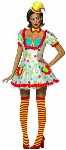 Adult Colorful Female Clown Costume (One size fits ladies size -