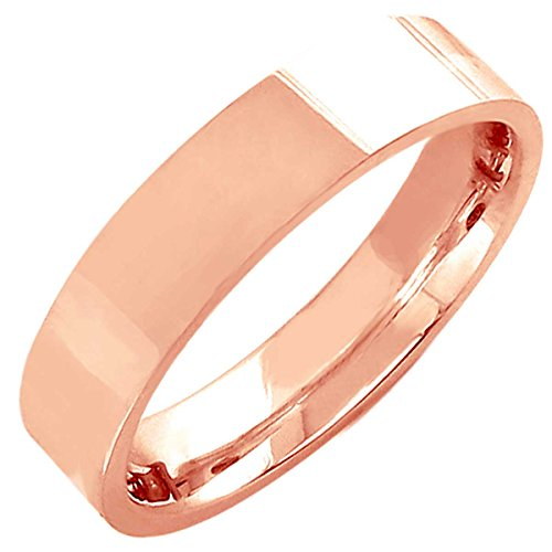 14K Rose Gold Traditional Top Flat Women's Comfort Fit Wedding Band (5mm) Size-4.75c1 - Rose Gold Cigar Band Ring