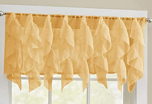 ABeautifulSeller Sheer Voile Vertical Ruffle Window Kitchen Curtain 12 Valance Camel