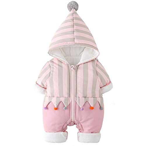 Y·J Back home Baby Girl Fleece Lined Snowsuit Newborn Winter Romper Pink Infant Jumpsuit Puffer Outfit Striped Outerwear Hooded for Toddler,6-9 Months