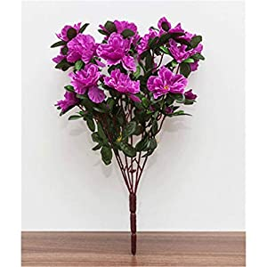 baisheng Artificial Flowers Rhododendron simsii Planch Silk Flower Party Festival Xmas Bouquets Home Wedding Decoration(4 Bunch-Purple)