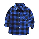 Mini honey Kids Little Boys Girls Baby Long Sleeve Button Down Red Plaid Flannel Shirt Plaid Girl Boy NB-4T (4-5 T, Blue)