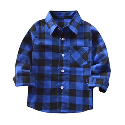 Mini honey Kids Little Boys Girls Baby Long Sleeve Button Down Red Plaid Flannel Shirt Plaid Girl Boy NB-4T (2-3 T, Blue)