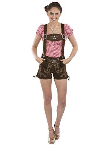 Lederhose Almglück kurz - Schöneberger Trachten Damen Hotpants Trachtenlederhose braun (34, braun)