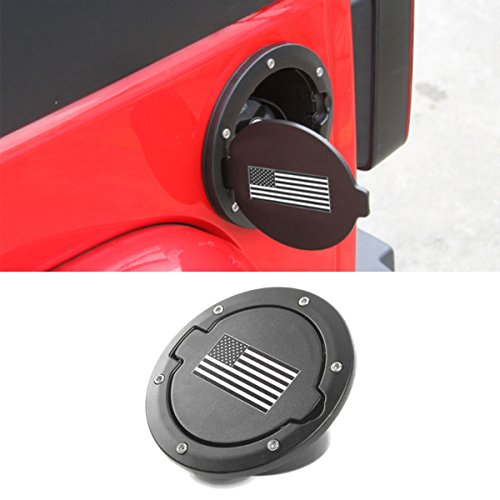 Jeep Tj Gas Tank Cover - YOCTM Black US Flag Powder Coated Fuel Tank Cover Gas Lid Filler Cap Metal ABS For Jeep Wrangler JK 2007-2017