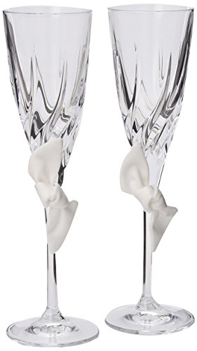 Beverly Clark Collection Love Knot 24-percent Lead Crystal Toasting Flutes, White, Set of -