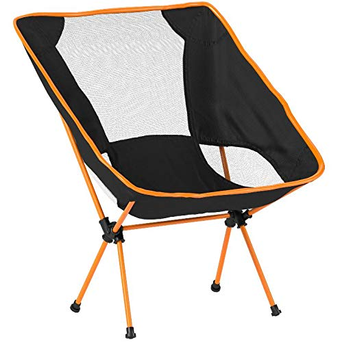 GADE Portable Steel Folding Camping Backpacking Chairs with Carry Bag for Camping Hiking Outdoor Bicycling BBQ Beach (Orange)