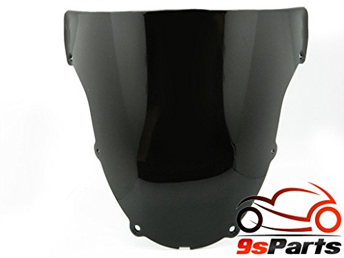 9sparts® Black Smoke Double Bubble Transparent Windscreen Windshiled for 2003 2004 Kawasaki Ninja ZX-6R ZX6R by 9sparts (Image #1)