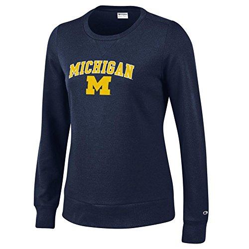 Elite Fan Shop Michigan Wolverines Womens Crewneck Sweatshirt Varsity Navy Blue - M