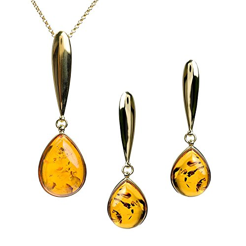 Amber Sterling Silver Drop Stud Earrings Pendant Necklace Set Chain 18