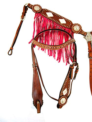 Headstall BREASTCOLLAR Set Silver Concho BUCKSTITCH Pink Fringe Basket Weave Tooled Leather Show Western Horse - Billy Saddles Barrel Cook Racing