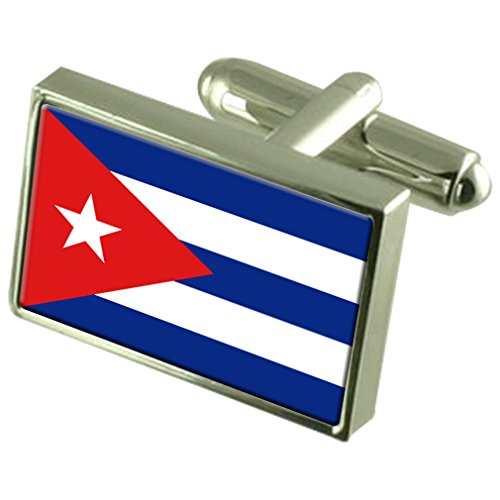 Cuba Drapeau en Argent Sterling gravé en manchette boîte personnalisée