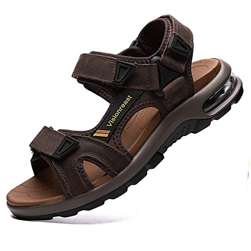 Visionreast Mens Leather Sandals Open Toe Outdoor Hiking Sandals Air Cushion Sport Sandals Waterproof Beach Sandals