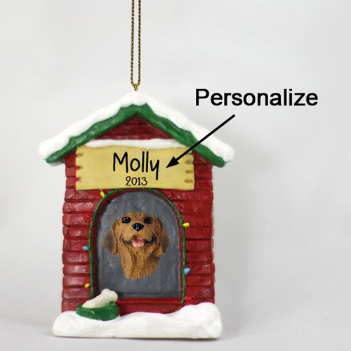 Rhodesian Ridgeback Personalizable Dog House Christmas Ornament - Hand Painted - Delightful ()