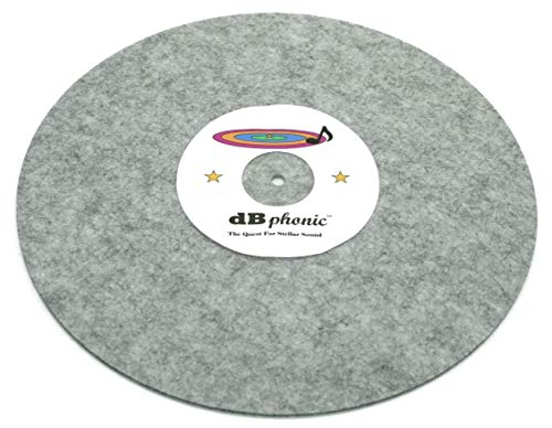 DB Phonics Turntable Stereo Phonograph Platter Slip Mat Anti Static Vinyl Record Player Vibration Dampening Felt Gray 295mm 3mm Thick