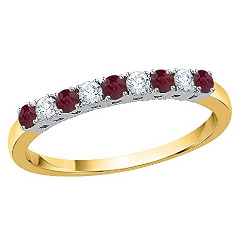 KATARINA Diamond and Alternating Ruby Wedding Band in 10K Yellow Gold (3/8 cttw, G-H, I2-I3) (Size-7.5)