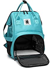 Soft-Side Cat Travel Backpack, Breathable Classic Diaper Bag for Kitten, Airline Approved (Green, Soft-Side Backpack)
