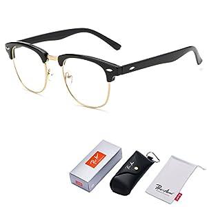 Pro Acme Vintage Inspired Semi-Rimless Clubmaster Clear Lens Glasses Frame Horn Rimmed (Bright Black)