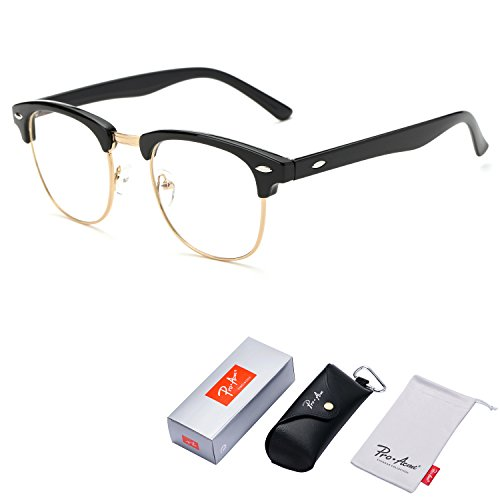 Pro Acme Vintage Inspired Semi-Rimless Clubmaster Clear Lens Glasses Frame Horn Rimmed (Bright Black)