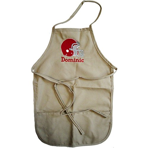 (Embroidered Personalized Child's Cotton Chef Apron Football Helmet - Available in Two Sizes and a Multitude of Colors and Your Choice of Font and Thread Color)