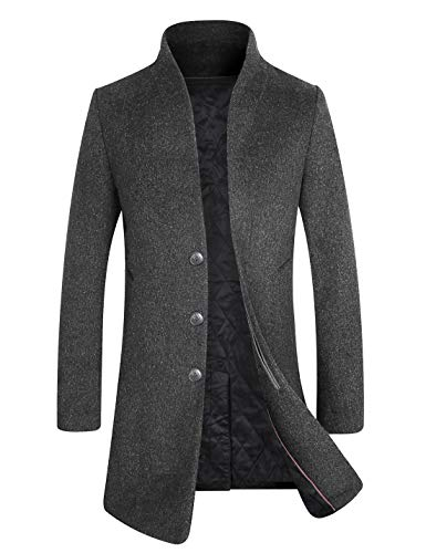 APTRO Men's Fleece Lining Slim Fit Wool Trench Coat 1681 Gray XS