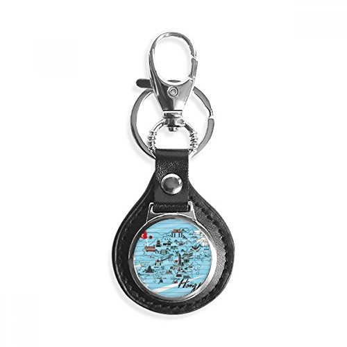 (Hong Kong Local Map Leather Metal Key Chain Ring Car Keychain Gift)