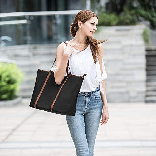 CHICECO Basic Large Travel Tote Shoulder Bag for Women - Black + Brown/20.5 Length