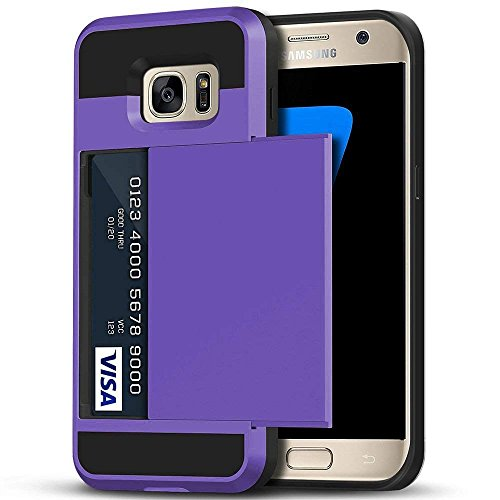Galaxy S7 Case, Anuck Credit Card Holding Case Galaxy S7 Wallet Case [Card Slot Holder][Anti-scratch Hard Shell] Dual Layer Shockproof Rubber Bumper Protective Case Cover for Galaxy S7 - Lavender