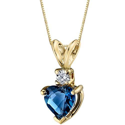 - 14 Karat Yellow Gold Heart Shape 1.00 Carats London Blue Topaz Diamond Pendant