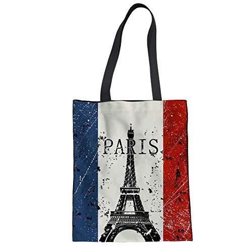 FANCOSAN Canvas Daily Purse Top Handle Shoulder Tote Vintage Eiffel Tower Printing Shopper Handbag Recycle Bag