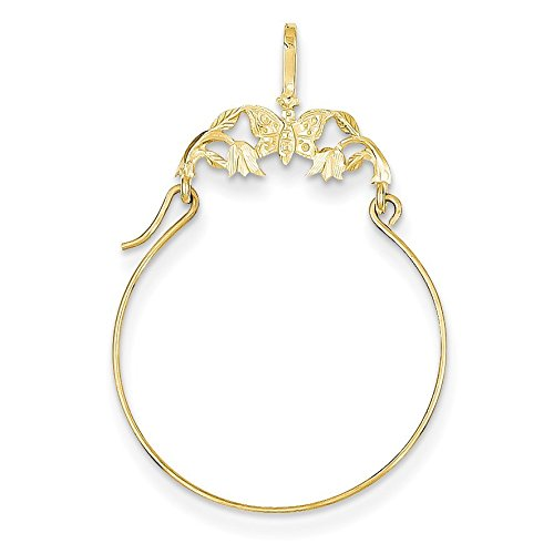Gold Butterfly Charm Holder (14K Yellow Gold Polished Butterflies Charm Holder - (1.38 in x 0.79 in))
