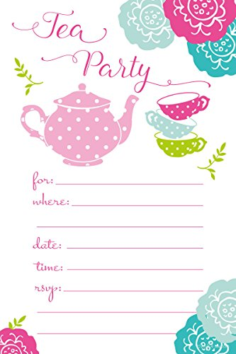 Party Invite (Tea Party Invitations - Birthday, Baby Shower, Any Occasion - Fill In Style (20 Count) With Envelopes)