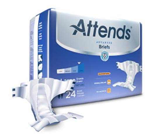 Attends Advanced Briefs with Advanced Dry-Lock Technology for Adult Incontinence Care, Large, Unisex ,  72 Count