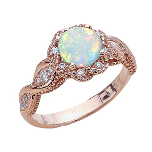 DONGMING Elegant Faux Gemstone Opal Ring for Women Crystal Rhinestone Wedding Engagement Ring Band Jewelry Size 9-10,Rose Gold 10#