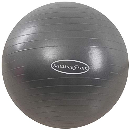 BalanceFrom Anti-Burst and Slip Resistant Exercise Ball Yoga Ball Fitness Ball Birthing Ball with Quick Pump, 2,000-Pound Capacity (58-65cm, L, Gray)