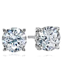 Plated Sterling Silver Swarovski Zirconia (3cttw) Round Stud Earrings