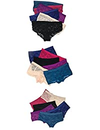 Sexy Basics Women's 18 Pack Assorted Styles Stretch Lace Boyshorts Boyleg & Hipster Pantys