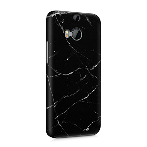 Black Onyx & White Strips Marble Print Hard Plastic Phone Case For Htc One M8