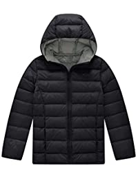 Wantdo Boy's Hooded Down Jacket Lightweight Packable Down Coat