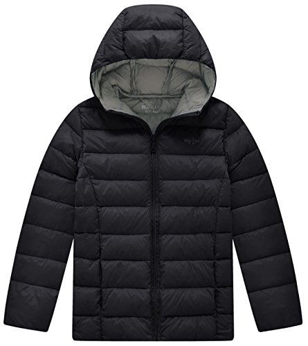Lightweight Black Hood Wantdo Down Puffer Packable with Boy's Jacket ZEnqBRfU