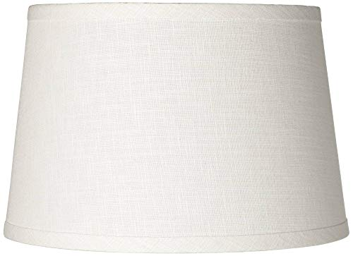 (White Linen Drum Lamp Shade 10x12x8 (Spider) - Brentwood)