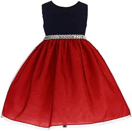 86946d9b8da Crayon Kids Little Girls Red Glitter Bejeweled Waist Flower Girl Dress 2T-6
